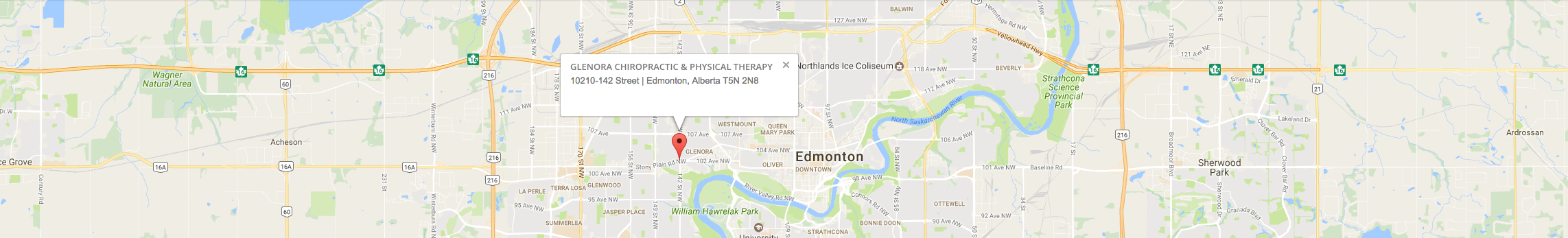 Glenora Chiropractic & Physical Therapy Clinic  Contact old glenora chiro physio map